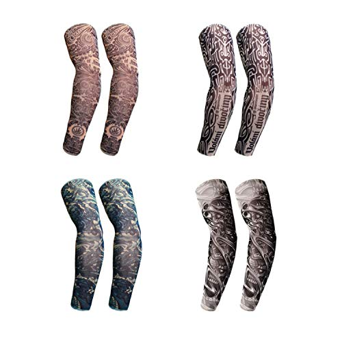 4 Pairs Fake Temporary Tattoo Sleeves For Outdoor Activities Supplies,Sunscreen Sleeves Designs A God Of Death,Skeleton,General,King's Markand Etc