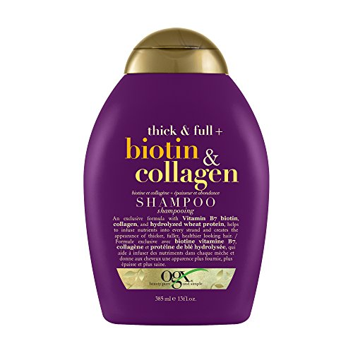 OGX Thick & Full Biotin & Collagen Shampoo | With Vitamin B7 Biotin, Collagen & Hydrolyzed Wheat Protein, For Thicker, Fuller, Healthier looking hair, Sulfate Free Surfactant, No Parabens, 385 ml