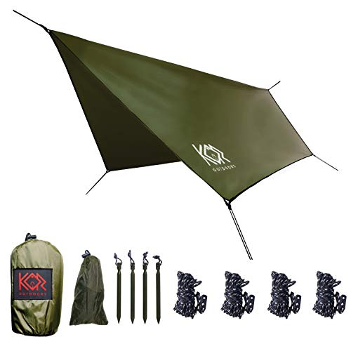 KOR Outdoors Hammock Rain Fly Tarp - 11x9 ft Waterproof Hammock Tarp - Tent Footprint & Shelter - Lightweight, Compact & Easy Setup Canopy for Hiking, Camping & Backpacking - Green