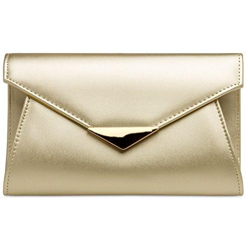 Caspar TA363 XL Bolso de Mano de Fiesta para Mujer Clutch con Aplicación Metálica, Color:dorado, Talla:Talla Única
