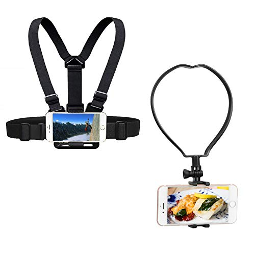 Yoogeer VLOG/POV Adjustable Cellphone Selfie Chest Neck Mount Holder Strap for Action Camera/Gopro Hero/Apple iPhone SE 11 Xs X 8 7 Samsung Galaxy S20 S20+ BLU Phone (Chest + Neck Mount)