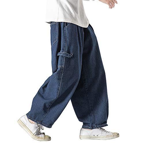 COZOEN ワイドパンツ メンズ デニムパンツ ジーンズ ジーパン ガウチョ ロング丈 コットン ストレート アメカジ ブラスト ペインター おしゃれ かっこいい 大きいサイズ