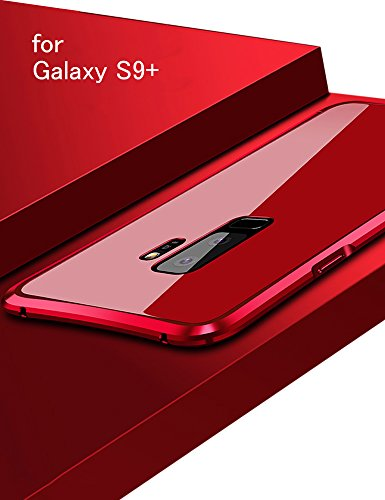 Galaxy S9+ ケース 対応 docomo SC-03K メタルバンパー uovon 高品質アルミ製フレーム+バックプレート Samsung ギャラクシーS9plus カバー オシャレデザイン 最高レベル耐衝撃 (Galaxy S9+, レッド)