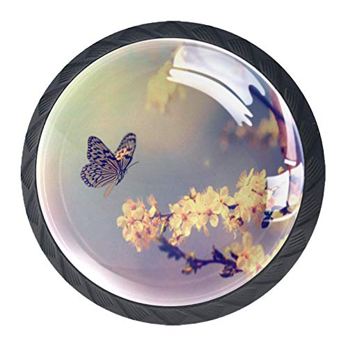 Las manijas del cajón tiran el vidrio de cristal redondo para el hogar, la cocina, el tocador, el armario, la mariposa y la flor del cerezo en primavera