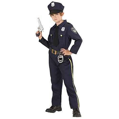 Widmann 76558 - Kinderkostüm Polizist, Hemd mit Krawatte, Hose, Hut, Uniform, Beruf, Mottoparty, Karneval