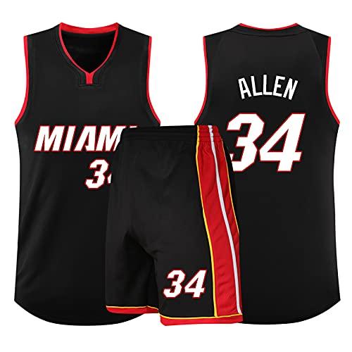 Camiseta de Baloncesto de la NBA de Ray Allen - MIA (Miami Heat) # 34, Swingman sin Mangas, Informal Holgado y Transpirable con Camiseta y Pantalones Cortos Negros, la Mejor opción para los fanáticos