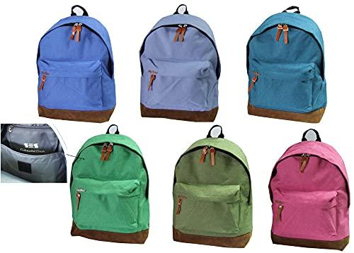 Dasfour DSF-1 - Mochila escolar para niño y niño, fondo de gamuza y bolsillo frontal con cremallera, 43 x 32 x 12 cm, varios colores disponibles (rosa)