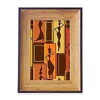 アフリカの土着の黒人女性の抽象芸術 フォトフレーム、デスクトップ、木製