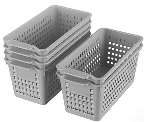 Plastic Storage Basket - 6 Pack Organizing Baskets, Gray Stackable Plastic Tray Cover-Less Basket, Woven Storage Baskets Organizer with Handles for Bathroom Kitchen Office Desktop