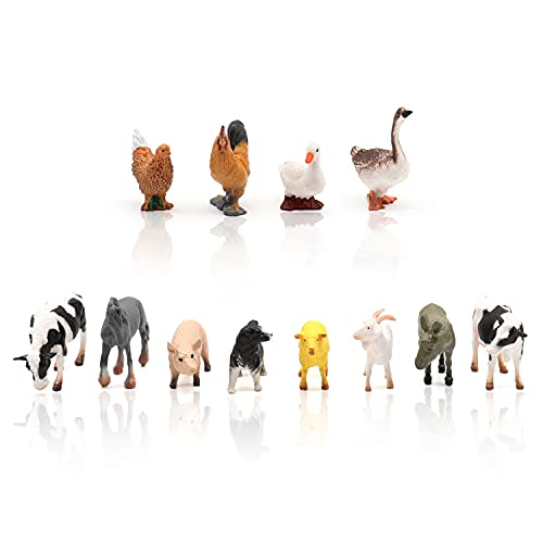 TMORU 12Pcs Farm Animal Figurine Toys, Realistic Plastic Animal Statues, Educational Sets Easter Eggs Birthday Gifts Cake Toppers for Kids