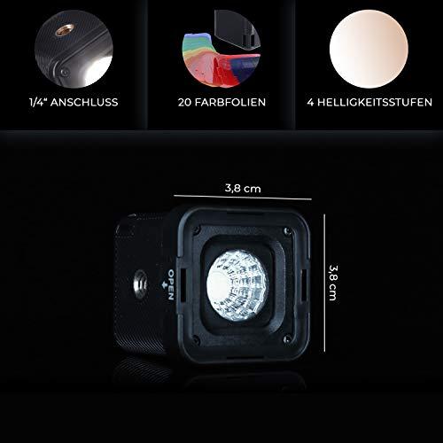Rollei Lumen Solo LED Fotolicht mit 20 Farbfiltern I wasserdichte Videoleuchte bis zu 10 Meter I Fotolampe I LED Video Light inkl. Blitzschuhadapter