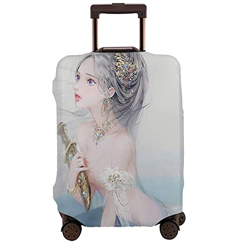 DJNGN Coprivaligia da viaggio Mermaid Princess Ice Dagger, proteggi valigia da viaggio, copri valigia antigraffio adatto a bagagli da 18-28 pollici