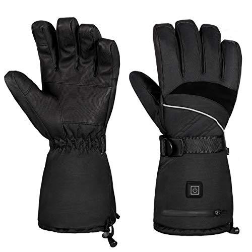 Clispeed, guanti elettrici riscaldati per uomo e donna – scaldamani impermeabili guanti da neve per inverno, sci, snowboard, escursionismo, ciclismo, compatibile con touchscreen (L)