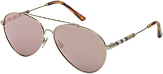 Burberry Women's 0BE3092Q 11674Z Sunglasses, Brushed Light Gold/Greymirrorrosegold, 57
