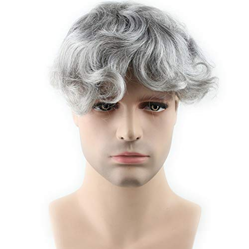 Rossy&Nancy Real Human Hair French Lace with PU Thin Skin Stock Men's Toupee Hair Pieces 1B Mix 80% Grey Hair Color
