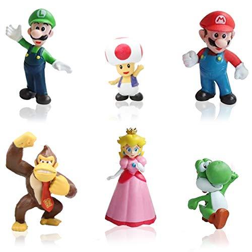 6pcs / Set Super Mario Toys - Figuras de Mario y Luigi Figuras de acción de Yoshi y Mario Bros Figuras de Juguete de PVC de Mario