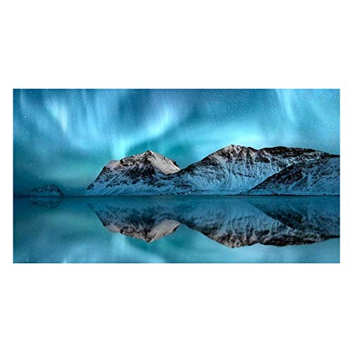 VSOO Cuadro Auroras Boreales Nieve Cielo Estrellado Impresión de Lienzo Mural de Paisaje Natural Northern Lights para Decoración de Salón y Dormitorio Sin Marco-7_Los 20x40cm