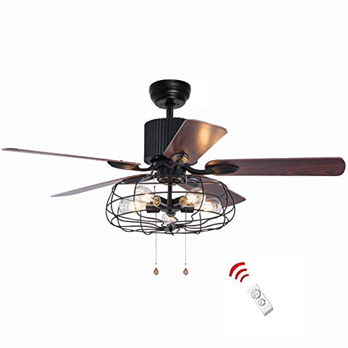 52 Inch Retro Industrial Ceiling Fan with Light 5 Wood...