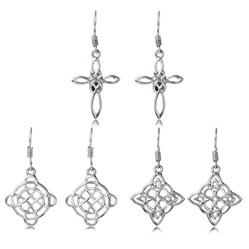 Dangle Celtic Knot Earrings for Women - 3 Pairs Drop Leverback Earrings with Cross, Triquetra, Round, Rectangle, Tree, Love Heart, Rhombic Shaped (Silver Cross, Round and Rhombic Earrings)