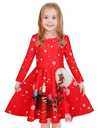 LaBeca Girls Printed Twirly Longsleeve Christmas Dress Santa's Sleigh Red XL