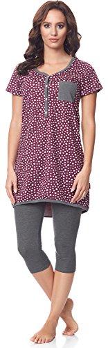 Be Mammy Damen Kurzarm Pyjama mit Stillfunktion BE20-177, Burgund-Sterne-Grau, M(Burgund-Sterne-Grau, M)