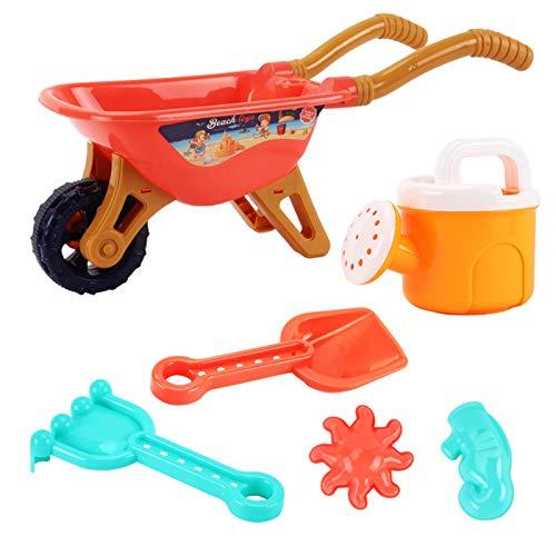 Haonan Juego de 6 juguetes de playa, juego de arena con carrito de riego puede rastrillar pala y 2 mini moldes vienen con bolsa de malla para niños