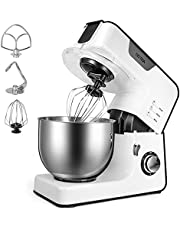 OSTBA Food Processor, Kneading Machine 1500W with 5.2L Stainless Bowl Food Processor with Dough Hook, Whisk and Mix Hook, 8 Speeds Silent Dough Machine, Splash Guard, White