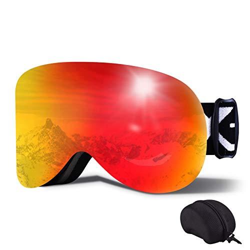 Magnetische Skibrille OTG Schneebrille Uv400 Schutz Skibrille Winddichte Snowboardbrille Antibeschlag Schnee Brille Helm Kompatibel Für Winterski Skaten