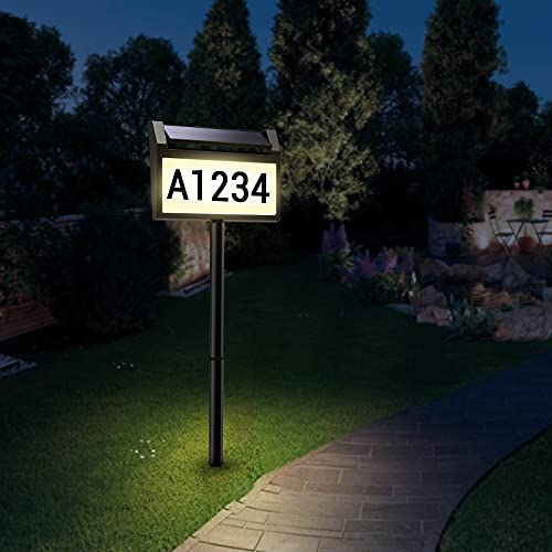 Solar House Number Sign,deerdance LED Illuminated Outdoor Address Plaque IP65 Waterproof Solar Powered House Numbers Light for Outside Home, Yard, Street, House