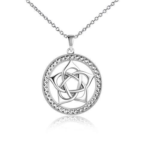 YFN Pentagram Necklace Sterling Silver Pentagram Pentacle Necklace Wiccan Pendant Jewelry for Women Men