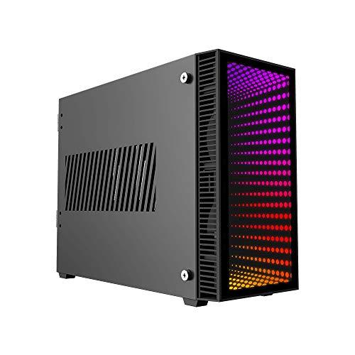 GAMEMAX Abyss ITX Case Mini-ITX per PC Mini Tower Front Glass Con Led 0.80MM SPCC 2*USB3.0 con 2 Ventole Rgb Addressable 5V Pannello Laterale Vetro Temperato (AxPxL: 325x420x160 mm)