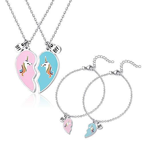 Girls Best Friend Necklaces and Bracelet set, Unicorn BFF Friendship Heart Necklace and Bracelet set for 2 Sisters Friends