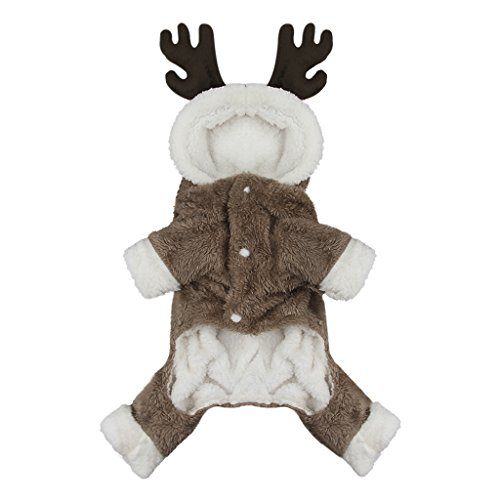 Cute Cartoon Pet Reindeer Cosplay Halloween Christmas Elk Costume Dog Puppy Hoodie Coat Jacket Clothes Soft Coral Velvet Fleece Winter Warm Hooded Sweater Jumpsuit Outfit Apparel for Small Dogs Cats