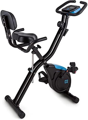 Capital Sports Azura 2 X-Bike - Vélo d'appartement Pliable, Ordinateur de Bord, 8 Niveaux de résistance, Selle avec Dossier et poignées, Forced'inertie de 3kg, Charge Max.<100kg, Noir/Bleu