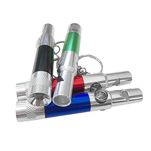 Rouge : porte-clés 3 en 1 de haute qualité avec lampe de poche boussole, sifflet, outil de survie et de randonnée