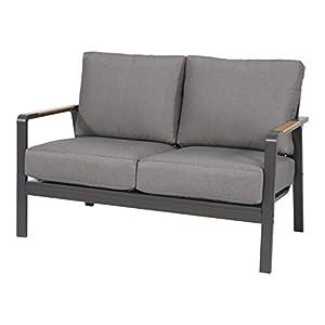 lifestyle4living Gartenbank 2-Sitzer aus Alu in anthrazit und Teak-Optik inkl. Kissen in grau. Die Loungebank ist…