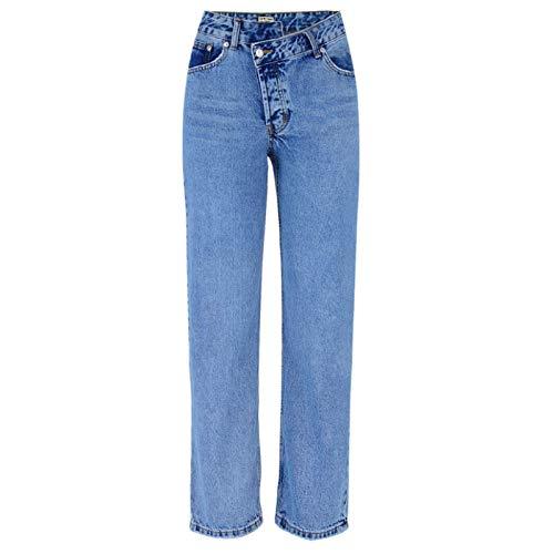 Luandge Pantalones Vaqueros de Pierna Recta de Cintura Alta Irregulares Atractivos para Mujer Pantalones de Mezclilla relajados Informales Lavados a la Moda 42