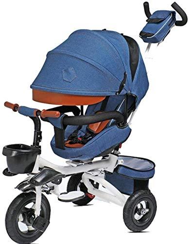 MJY Triciclo para niños Plegable con manija de empuje Pedal para niños Bicicleta con sombrilla Techo 1-6 años Peso de carga 50 kg Carro de bebé Niños Niñas Coche de juguete 7-4,Azul