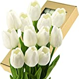 FiveSeasonStuff Tulips Artificial Flowers | Real Touch | Wedding Bouquet Home Dcor Party | Floral Arrangements | 15 Stems (Cheerful White)