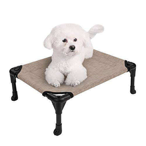 Veehoo Cooling Elevated Dog Bed, Portable Raised Pet Cot with Washable & Breathable Mesh, No-Slip Rubber Feet for Indoor & Outdoor Use, Small, Beige Coffee