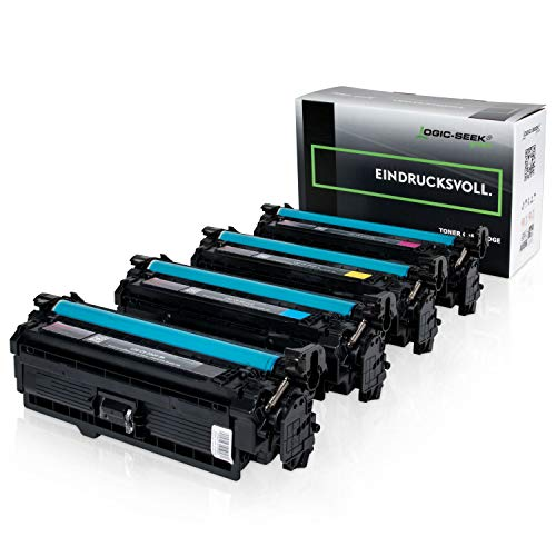 4 Original Logic-Seek Green Toner kompatibel zu HP CE250X-CE253A Color Laserjet CM3530 CP3525 Series