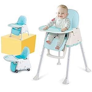 Trona para Bebes, LADUO Trona Portatil y Convertible con 4 Ruedas, Bandeja Ajustable, Cojín Comfort para Bebé