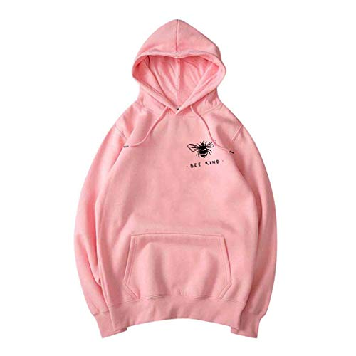 Buy Discount NANTE Top Loose Women's Blouse Bee Kind Print Hodded Sweatshirt Pullover Pocket Sweater Hat Tops Womens Clothes Ladies Clothing (Pink, XL)