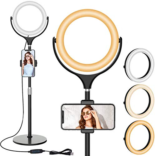 "8"" LED Selfie Ring Light with Stand & Cell Phone Holder, Adjustable Beauty Camera Ringlight for Makeup/Live Stream/YouTube Video/Vlogs/Photography, Compatible for iOS Android"