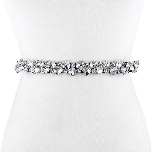 Culeze Women's Sparkly Crystal Rhinestone Elastic Skinny Waist Belt