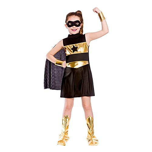Girls Black Super Hero Fancy Dress Party Costume Halloween Child