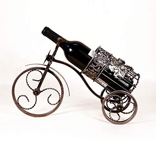 Youdan wijnrek van metaal met een fles, wijnrek, driewieler, vintage, smeedijzer, Europese ornamenten, creatief cadeau