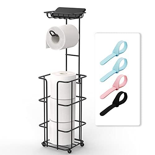 Toilet Paper Holder Toilet Paper Stand Toilet Paper Roll Holder Black Toilet Paper Holder with Shelf and Dispenser for 3 Spare Mega Rolls Free Standing Bathroom Paper Roll Storage Shelf Tissue Holder