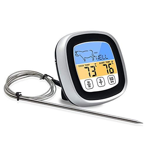 Termómetro digital portátil para carne con pantalla táctil, lectura instantánea, termómetro para alimentos, termómetro de cocina digital con temporizador, alarma sonda para horno