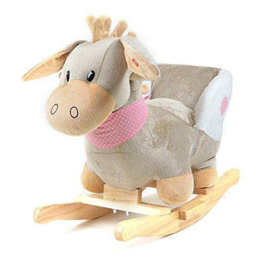 Pink Papaya Schaukeltier - Esel Pepe - Kinder und Baby Schaukelpferd, spezieller Schaukelstuhl für Kinder, mit Sound, Kopfhöhe ca. 50 cm, Sitzhöhe ca. 30 cm